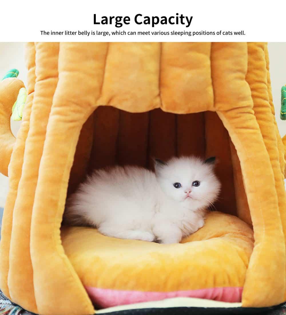 Warm PP Cotton Cat Nest, Tree-stump Shape Pet Nest, with Semi-enclosed Sleeping Bag Design 5