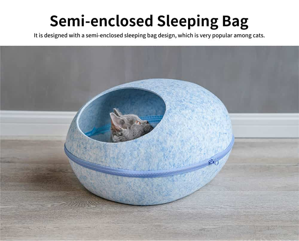 Semi-enclosed Sleeping Bag Cat Nest, Beautiful Pet House, with Removable and Washable Cushion Cover 2