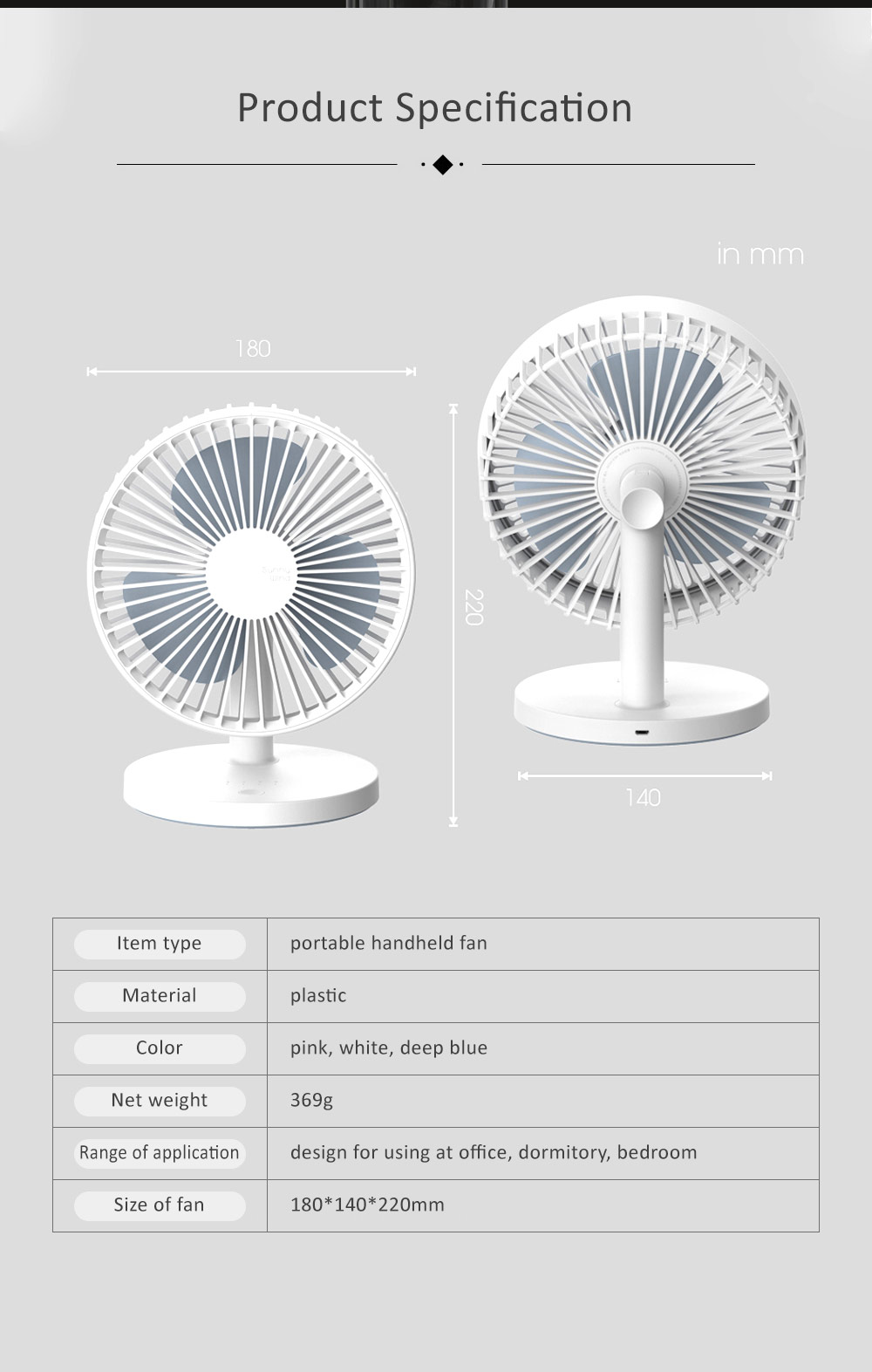 Children Rechargeable Desktop Fan, USB Portable Handheld Mini Noiseless Fan for Office, Dormitory 5