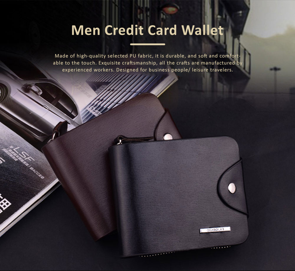 Business Money Clip Wallet, Men Zipper Wallet Bifold, Credit Card Short Wallet Father's Day Gifts 0