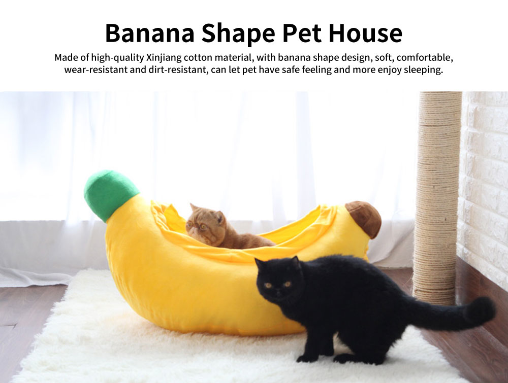 High-quality Xinjiang Cotton Cat Nest, Cute Banana Shape Pet House with Beautiful Curve 0