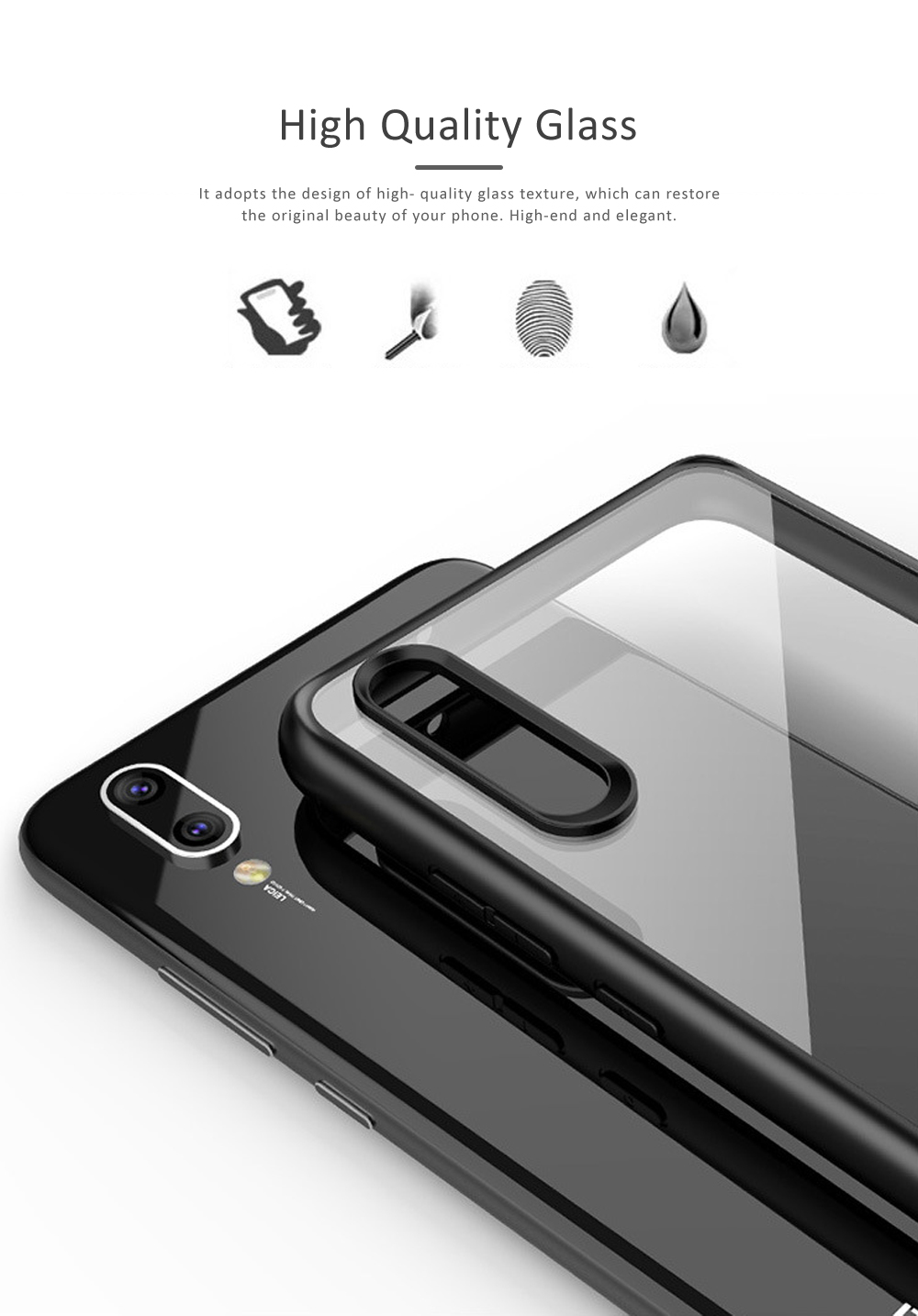 Huawei P20 Phone Case, Transparent Huawei Tempered Glass Case, Anti-fall & Anti-Scratch Huawei P20 Contracted Case 1