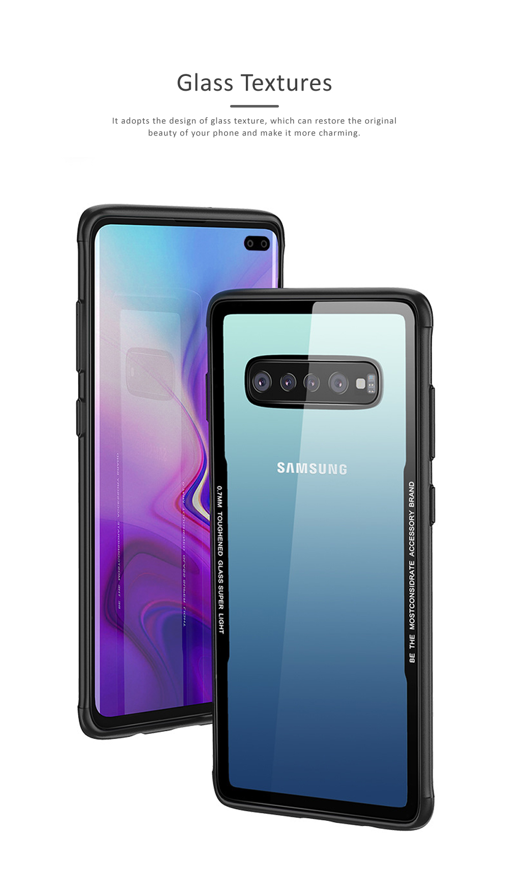 Samsung S10 Phone Case, New Transparent S10 Tempered Glass Case, Anti-fall & Anti-Scratch Samsung Contracted Phone Case for S10, S10 Plus, S10 Lite 2