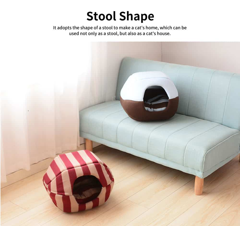 Lovely Stool Shape Pet Nest with Anti-skid Drip Plastic Design, High-quality Fleece & High-density Spong Cat Nest 3