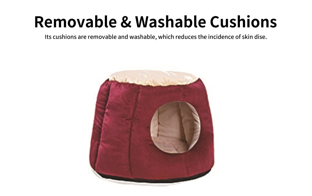 Northern Velvet Material Cat Nest, Beautiful Stool Shape Pet House, with Removable and Washable Cushion Cover 4