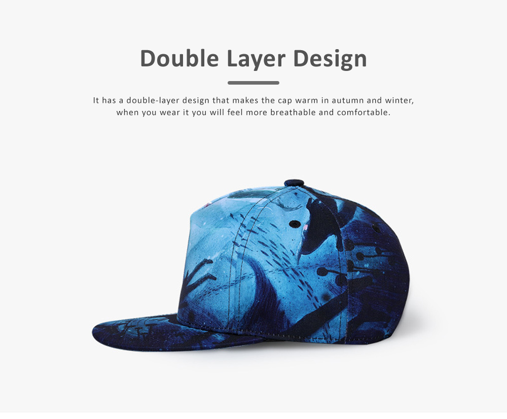 Men Baseball Cap, Adjustable Baseball Snapback Hat, Personality Father's Day Gifts 3D Picture Printed Cap 2