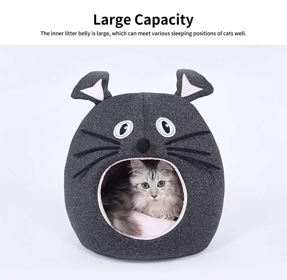 Beautiful Mouse Shape Pet House Cave, High-elastic PP Cotton and Sponge Fabrics Cat Nest with Semi-enclosed Design 4
