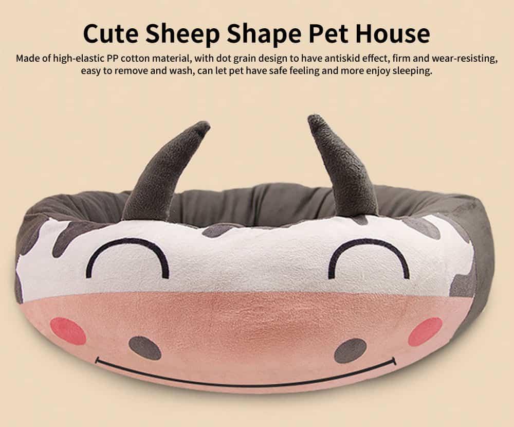 High-elastic PP Cotton Cat Nest, Cute Sheep Shape Pet House, with Dot Grain Design to Have Antiskid Effect 0