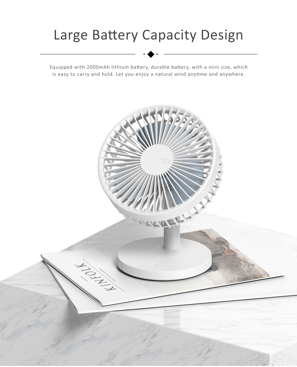 Children Rechargeable Desktop Fan, USB Portable Handheld Mini Noiseless Fan for Office, Dormitory 1