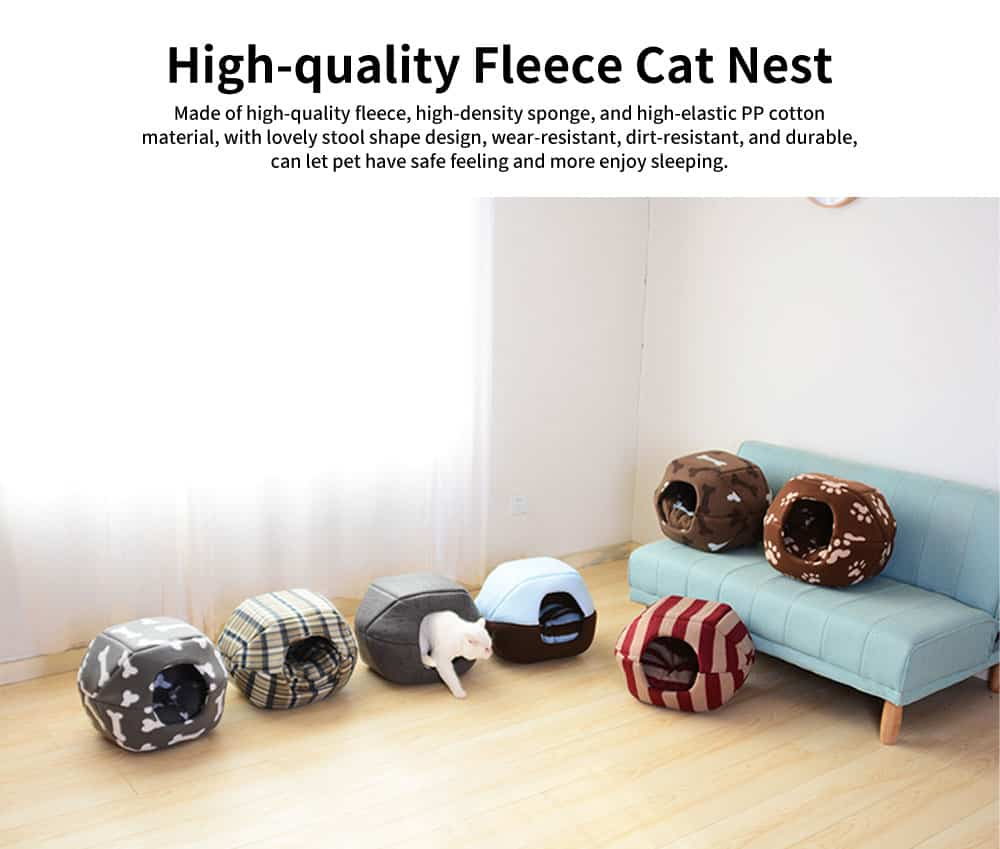 Lovely Stool Shape Pet Nest with Anti-skid Drip Plastic Design, High-quality Fleece & High-density Spong Cat Nest 0