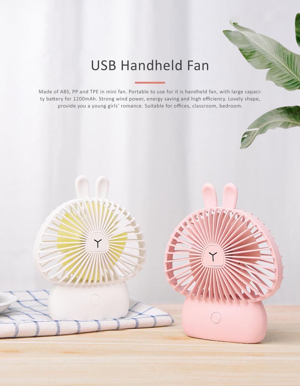 Cute Rechargeable Handheld Fan for Teenager Girls, USB Portable Handheld Mini Noiseless Fan, Desktop Mini Fan 0