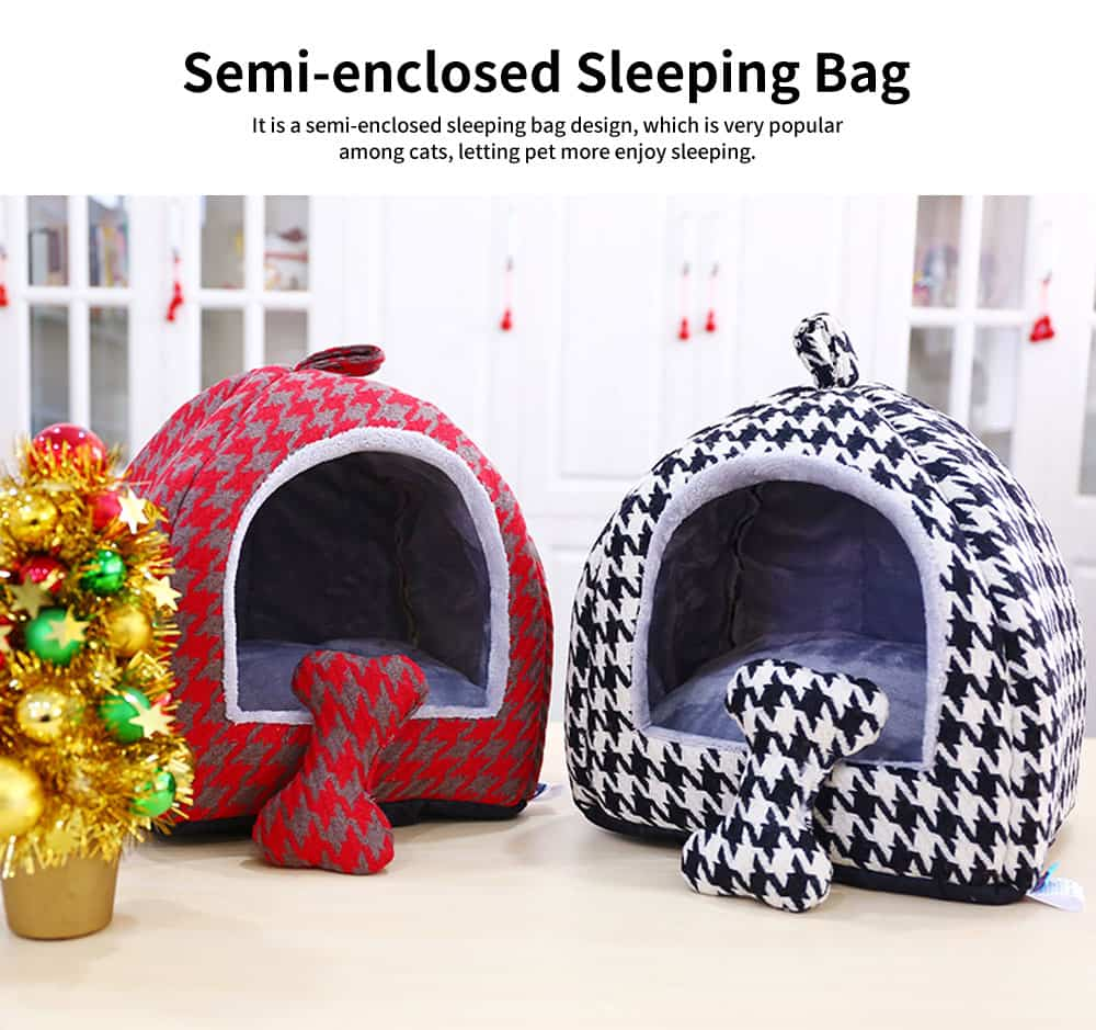 Semi-enclosed Sleeping Bag Design Cat Nest, High-quality Felt Pet Nest with Removable and Washable Cushion 1
