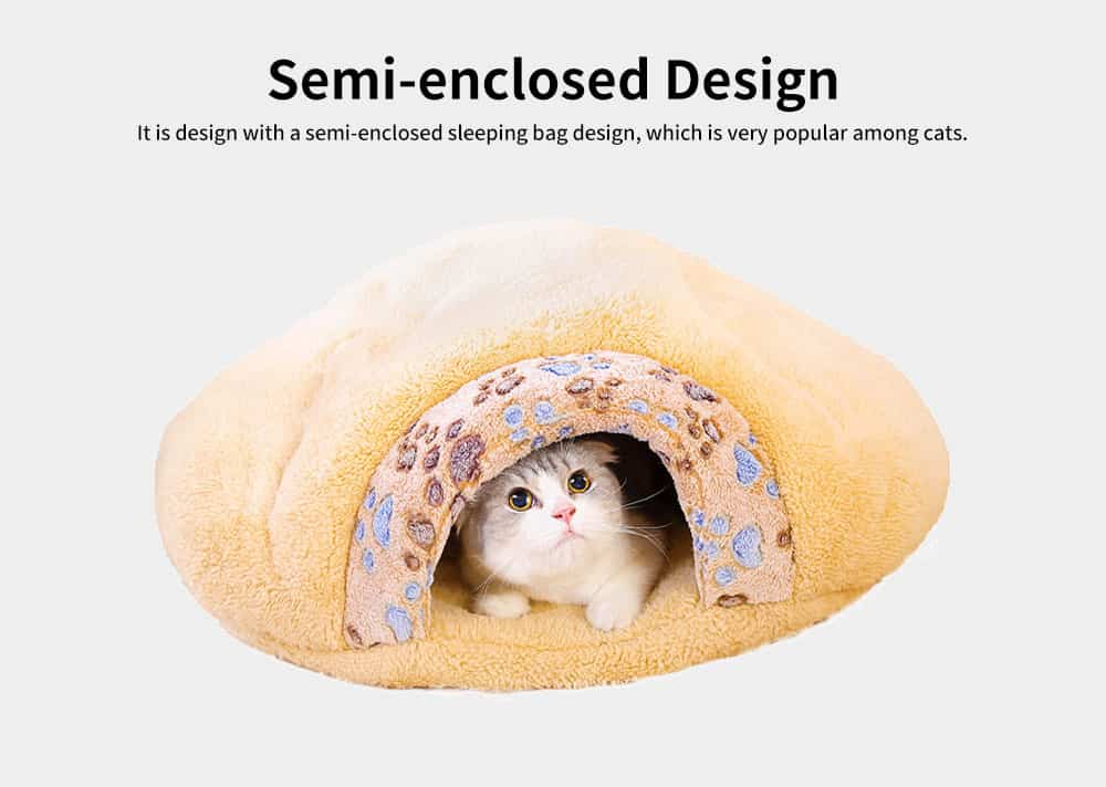Super Soft Fabrics Cats House, Semi-enclosed Cat Nest with Anti-skid Drip Plastic on the Button 2