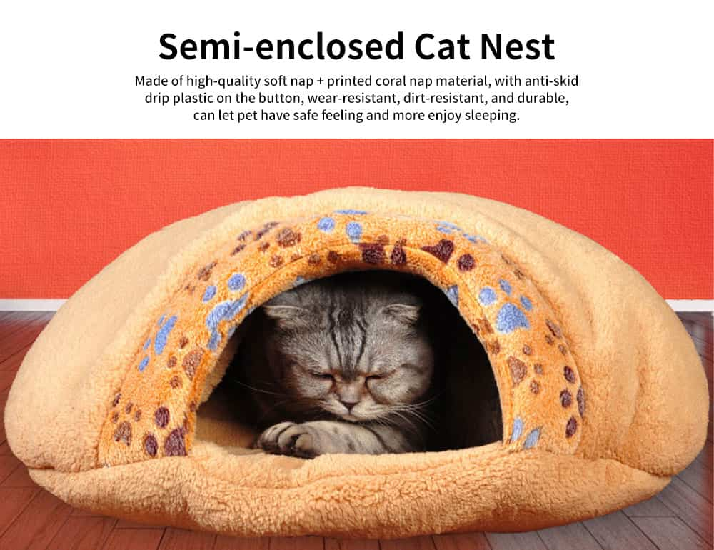 Super Soft Fabrics Cats House, Semi-enclosed Cat Nest with Anti-skid Drip Plastic on the Button 0
