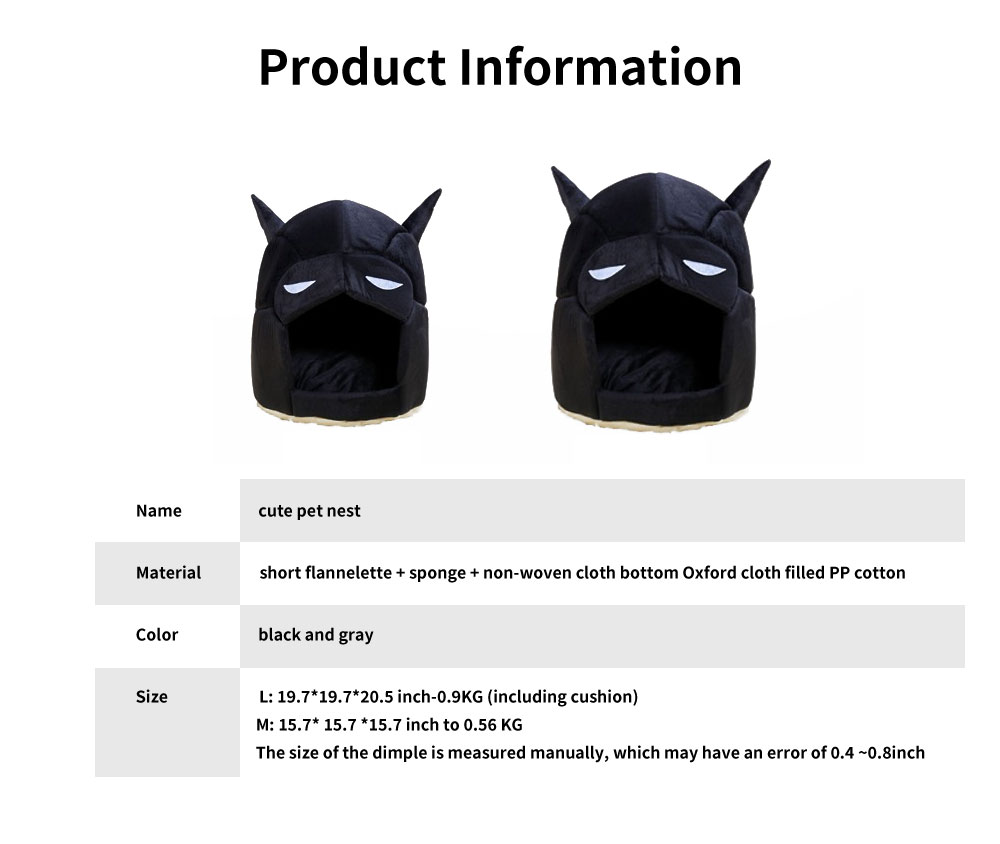 Classic Batman Modelling Cat Nest, with Removable and Washable Cushion, Selected PP Cotton Cat House 6