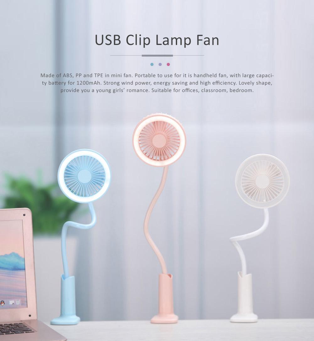 USB Mini Noiseless Clip Lamp Fan, Desktop Mini Clip Fan, Cute Flower Shape Fan for Students' Dormitory, Stroller 0