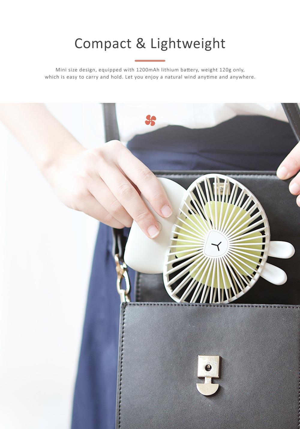 Cute Rechargeable Handheld Fan for Teenager Girls, USB Portable Handheld Mini Noiseless Fan, Desktop Mini Fan 2