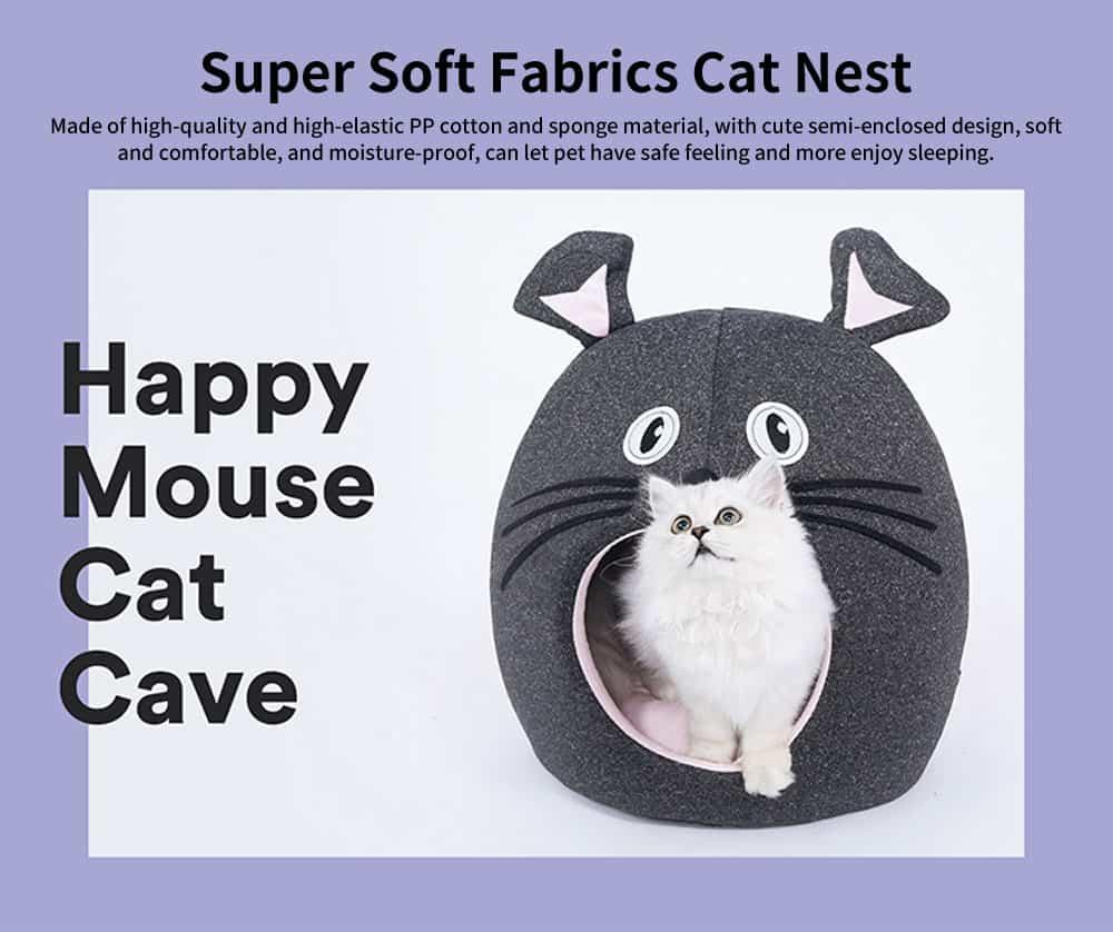 Beautiful Mouse Shape Pet House Cave, High-elastic PP Cotton and Sponge Fabrics Cat Nest with Semi-enclosed Design 0