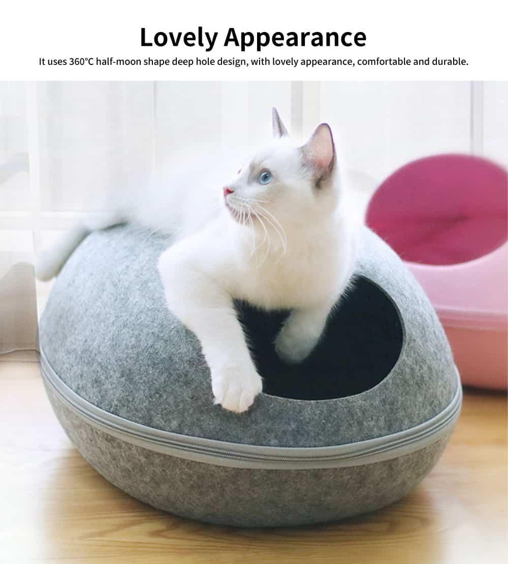 Detachable High-quality Felt Pet House, 360℃ Half-moon Shape Cat Nest, with Smooth and Flat Zipper 5