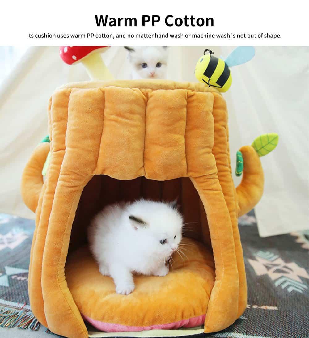 Warm PP Cotton Cat Nest, Tree-stump Shape Pet Nest, with Semi-enclosed Sleeping Bag Design 1