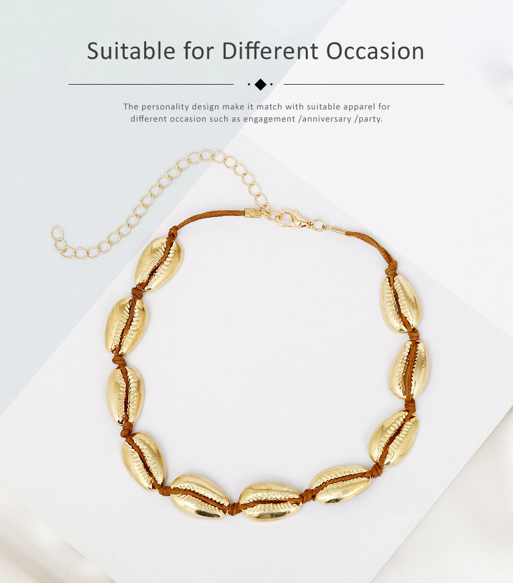 Bohemian Fashion Joker Style Necklace, Handmade Women String Alloy Necklace, Bohemian Metallic Shell Collar Necklace 3