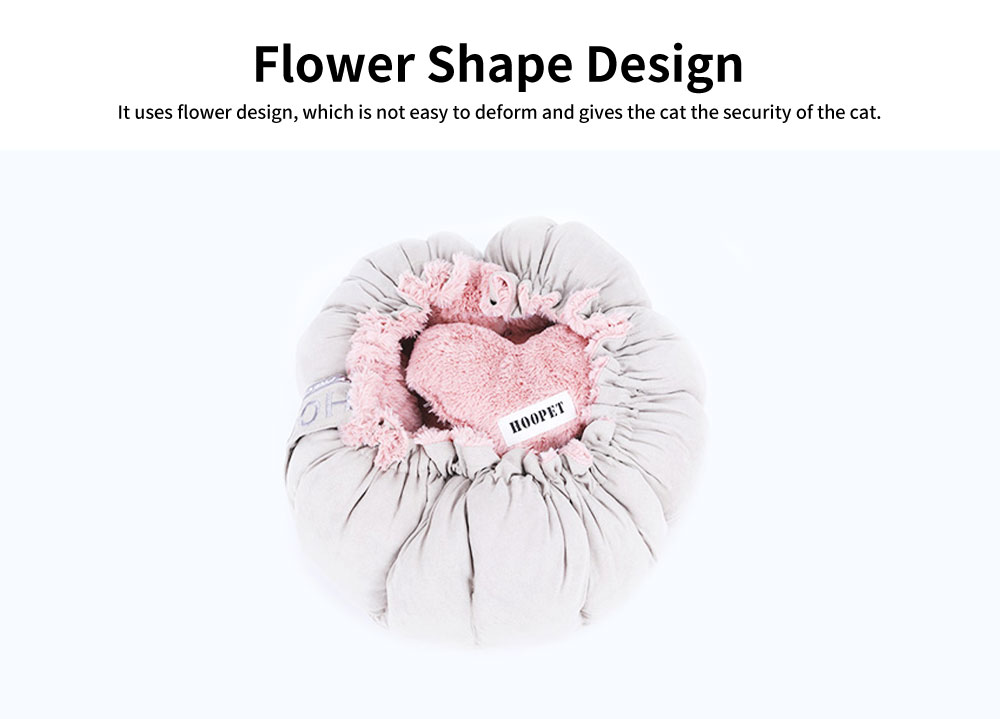 Beautiful Flower Shape Cat Nest, Selected Fluff Pink Round Fluff Nest, with Drawstring Beam Design 3