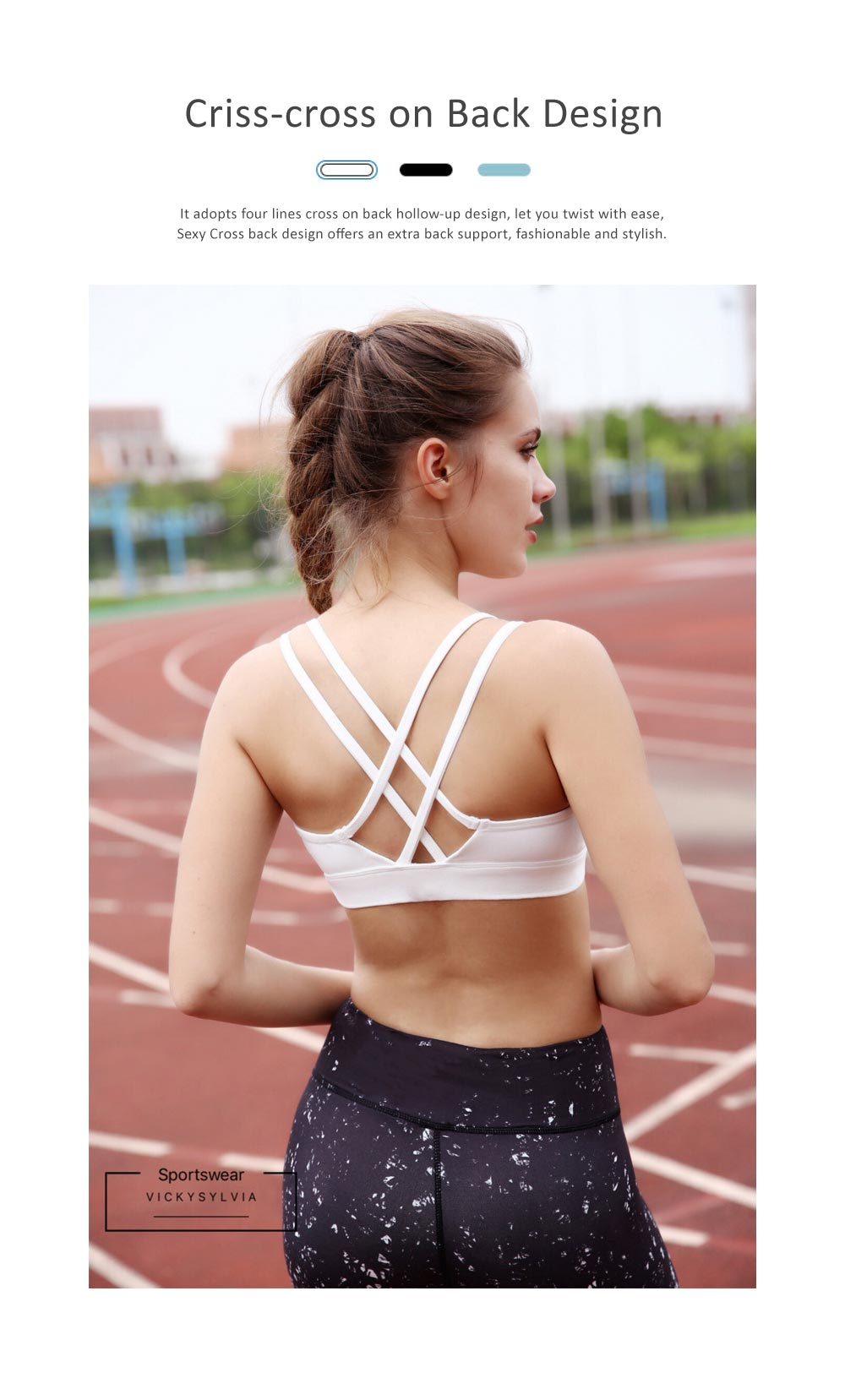Comfortable Women Vest Sports Bra, Full Figure Sports Underwear, Women's Build-up Racerback Sport Bras with Removable Padded 2