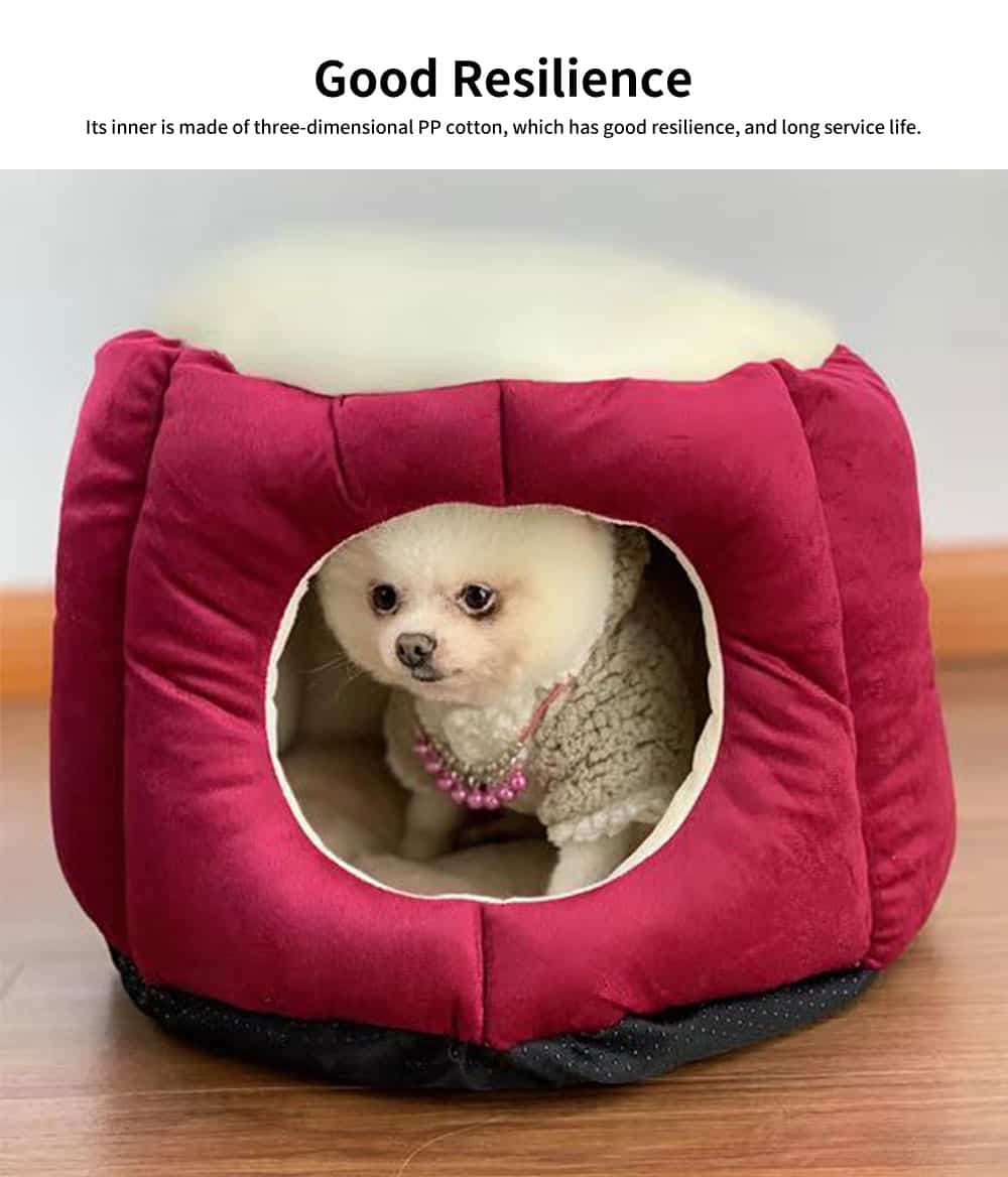 Northern Velvet Material Cat Nest, Beautiful Stool Shape Pet House, with Removable and Washable Cushion Cover 5
