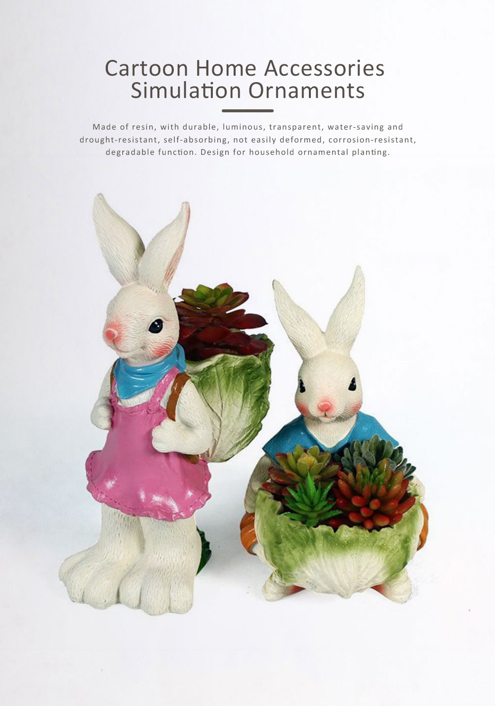 Cartoon Bunny Resin Handicraft, Home Accessories Simulation Ornaments for Garden Courtyard, Living Room, Balcony, Office 0