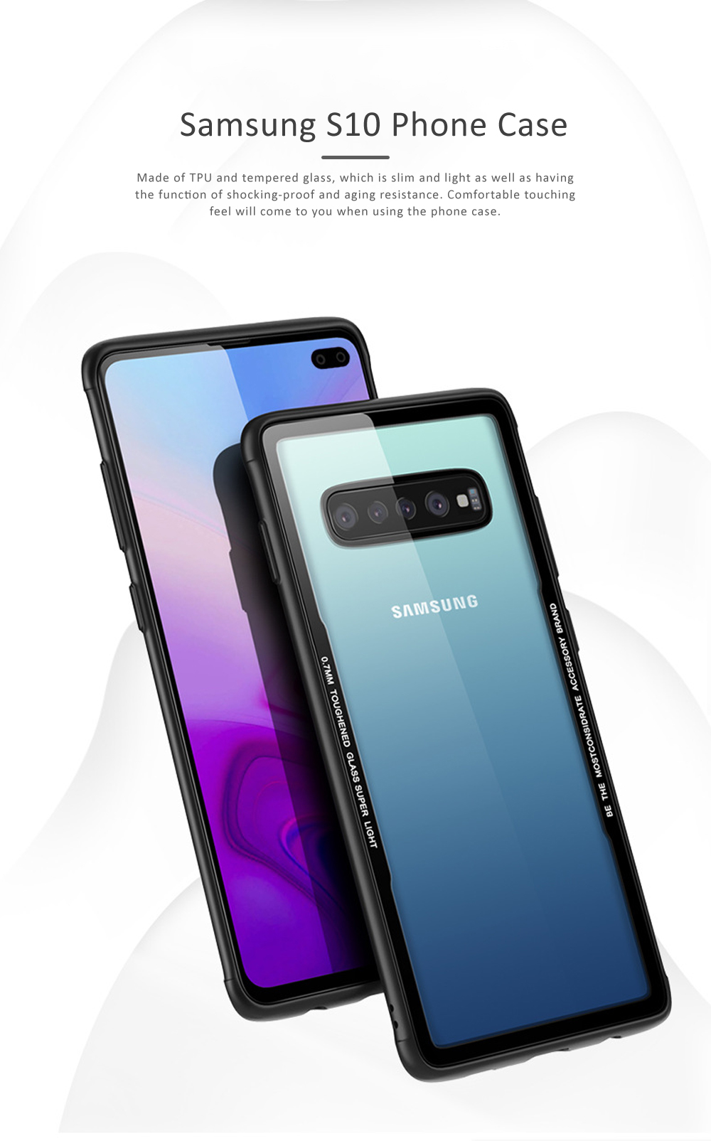 Samsung S10 Phone Case, New Transparent S10 Tempered Glass Case, Anti-fall & Anti-Scratch Samsung Contracted Phone Case for S10, S10 Plus, S10 Lite 0