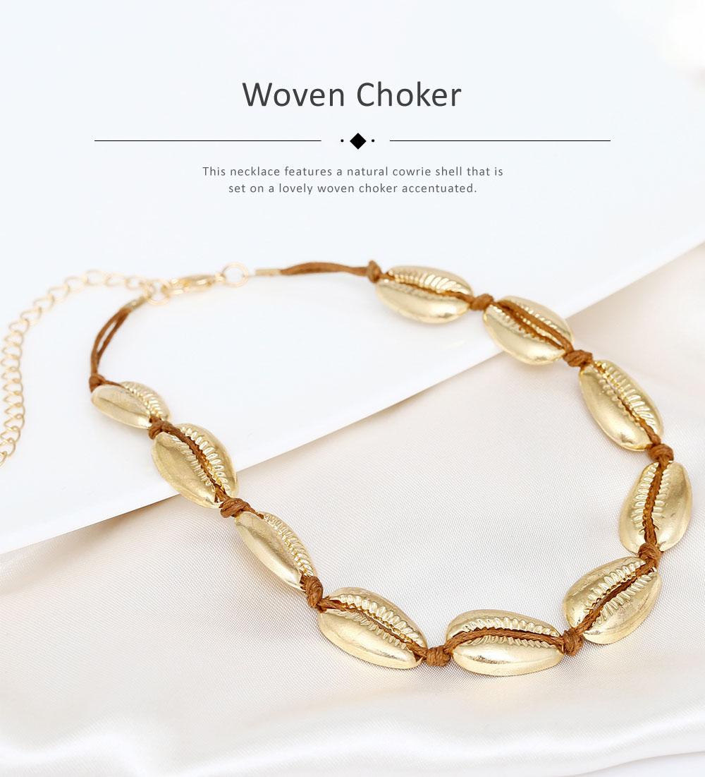 Bohemian Fashion Joker Style Necklace, Handmade Women String Alloy Necklace, Bohemian Metallic Shell Collar Necklace 4