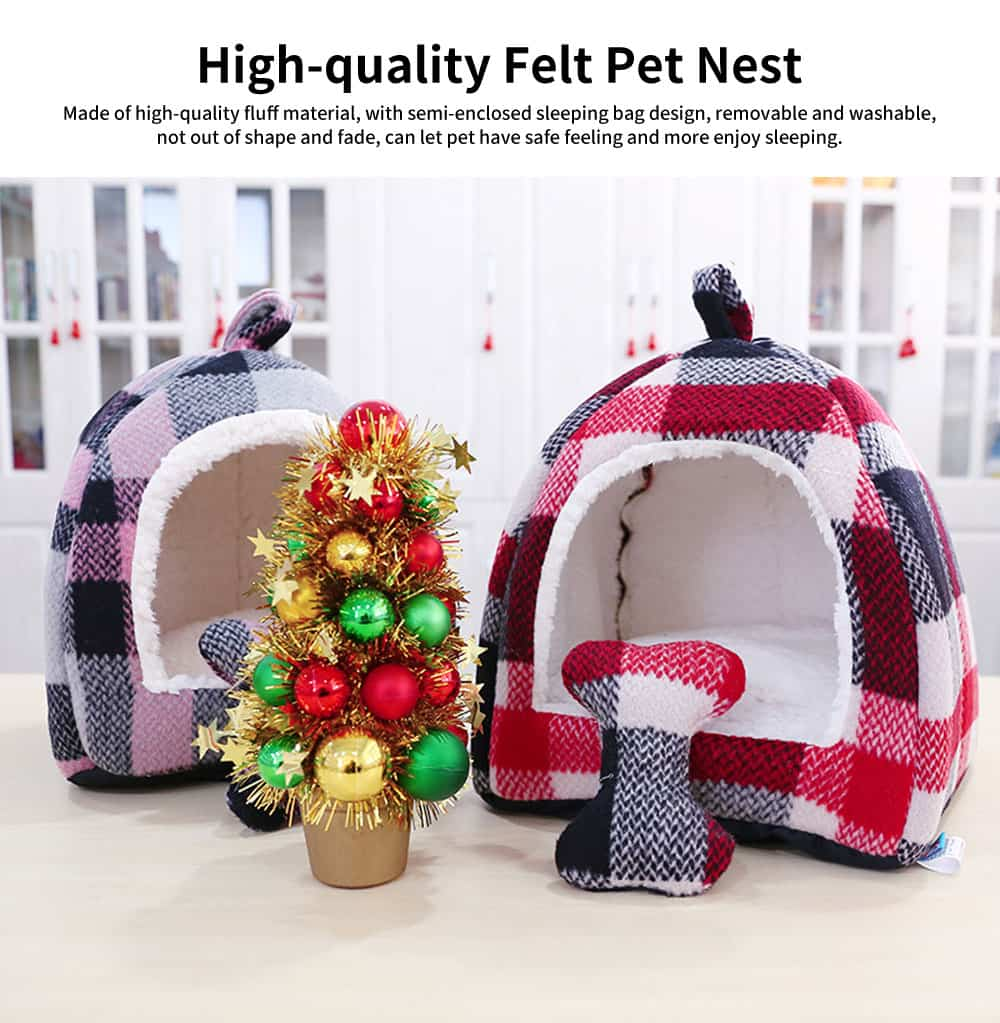 Semi-enclosed Sleeping Bag Design Cat Nest, High-quality Felt Pet Nest with Removable and Washable Cushion 0