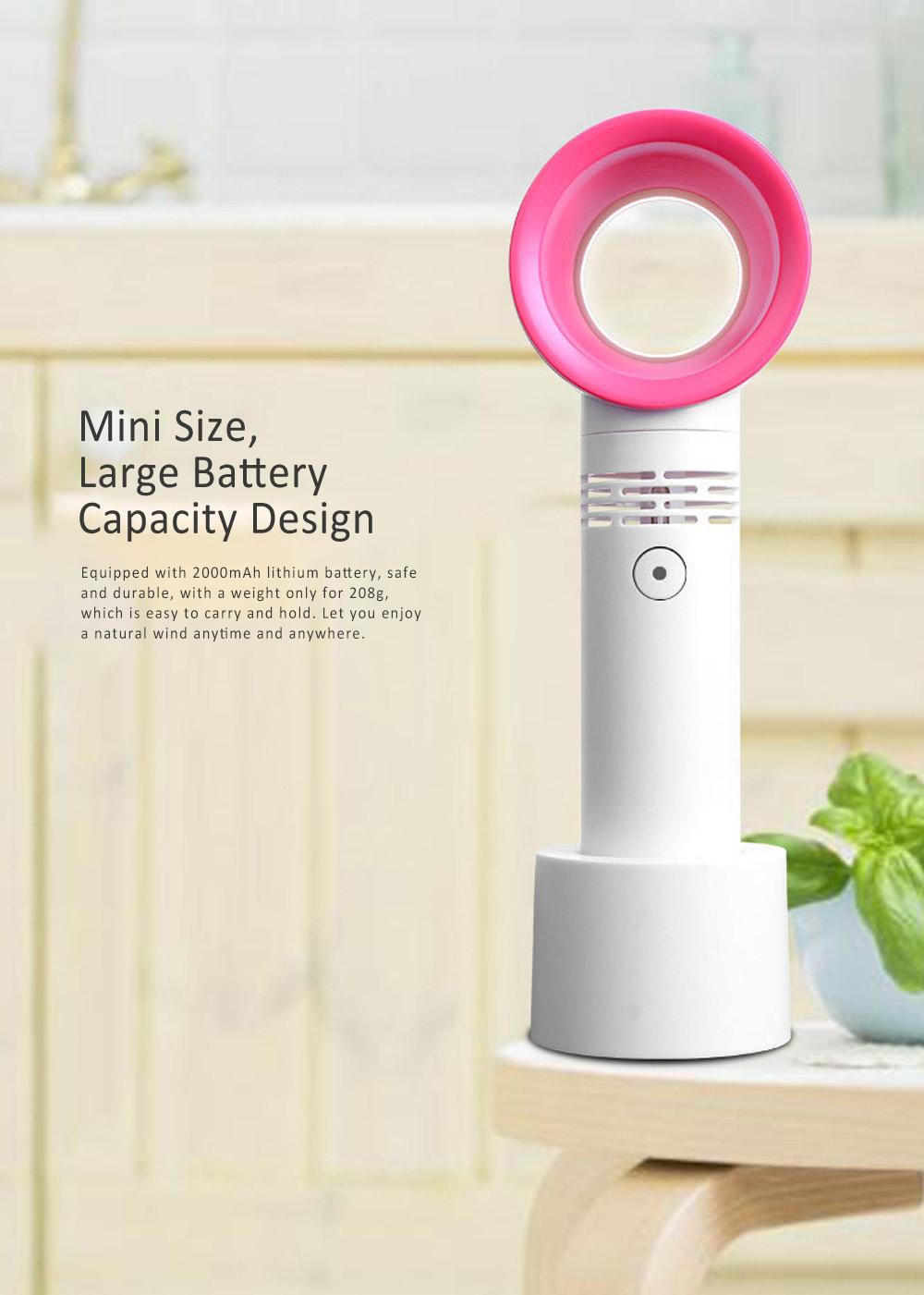 USB Bladeless Fan Portable Handheld Mini Noiseless Fan, Useful for Office, Dormitory, Children Chargeable Bladeless Fan 2