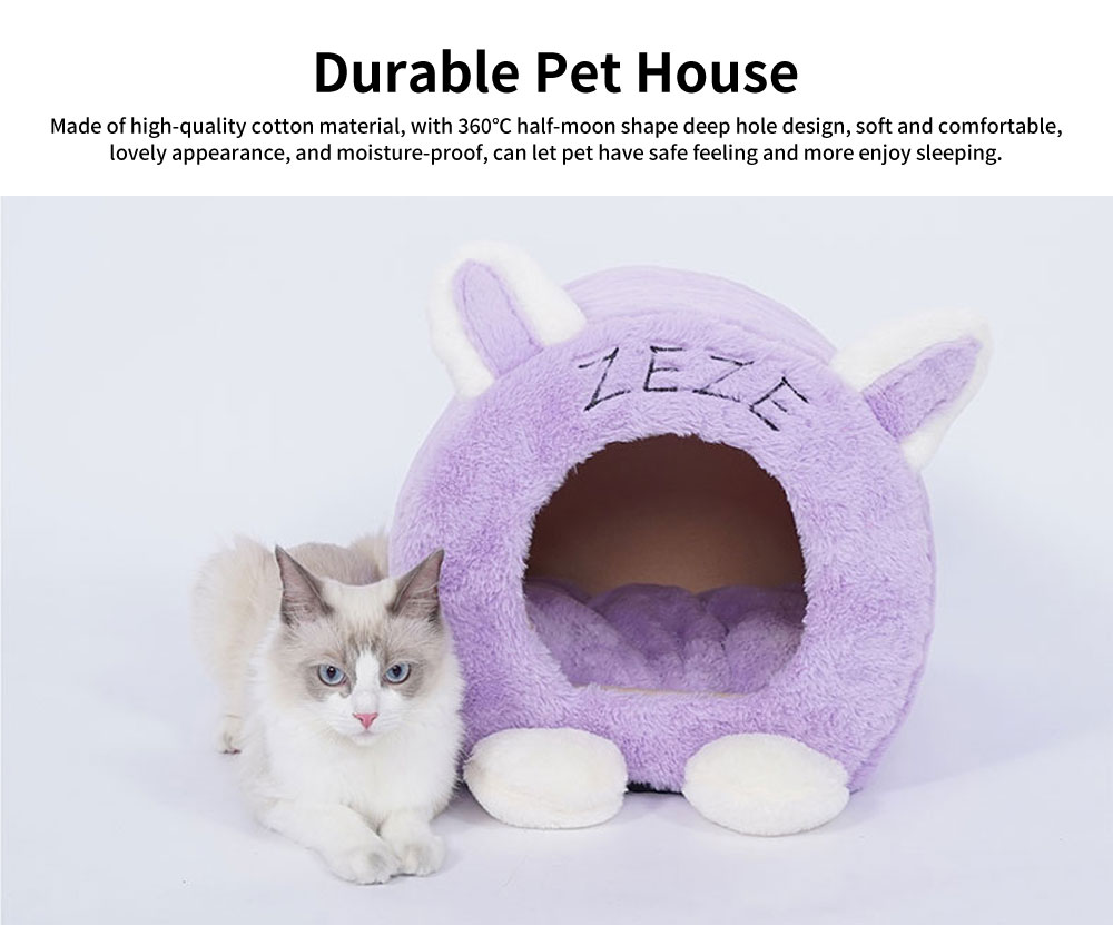 Lovely 360℃ Half-moon Shape Cat Nest, Comfortable and Durable Pet House with Beautiful Curve 0