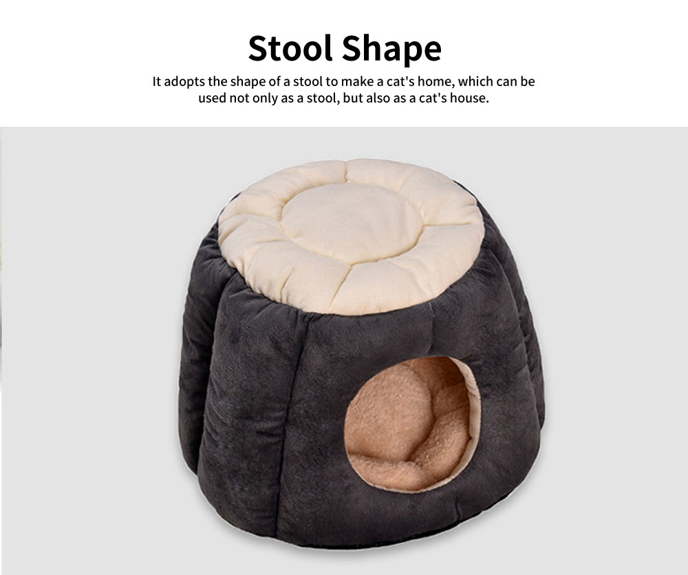Northern Velvet Material Cat Nest, Beautiful Stool Shape Pet House, with Removable and Washable Cushion Cover 2