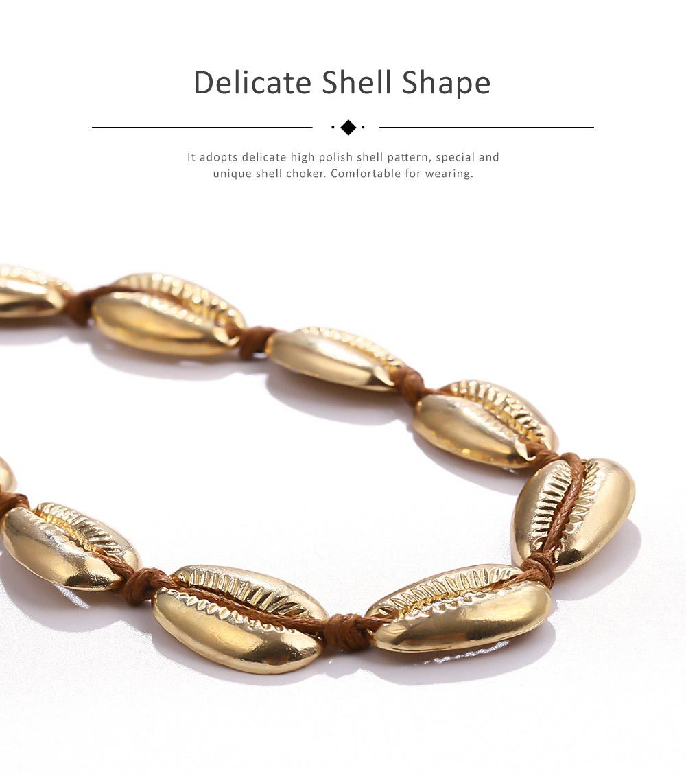 Bohemian Fashion Joker Style Necklace, Handmade Women String Alloy Necklace, Bohemian Metallic Shell Collar Necklace 2