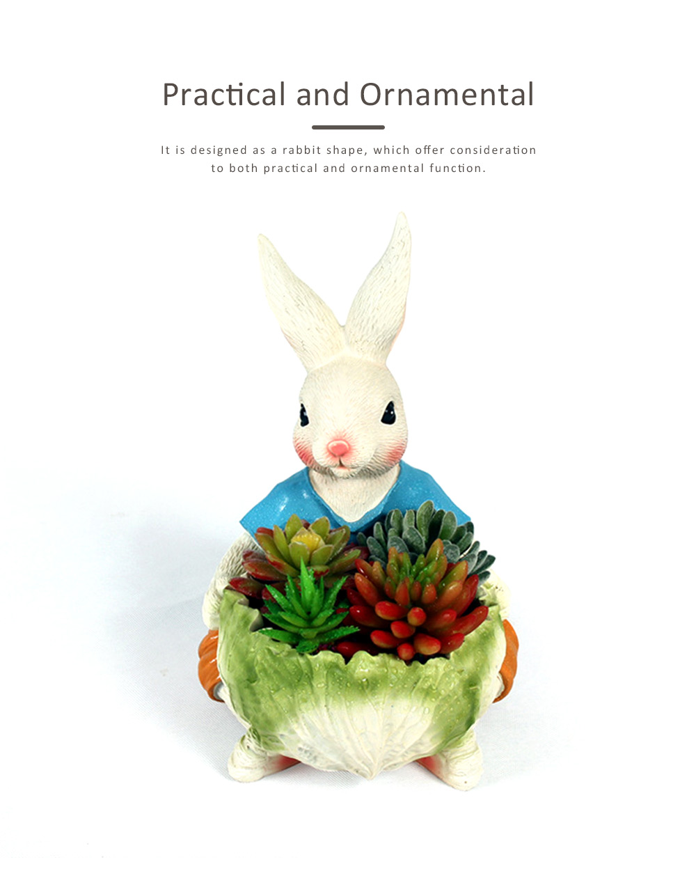 Cartoon Bunny Resin Handicraft, Home Accessories Simulation Ornaments for Garden Courtyard, Living Room, Balcony, Office 1