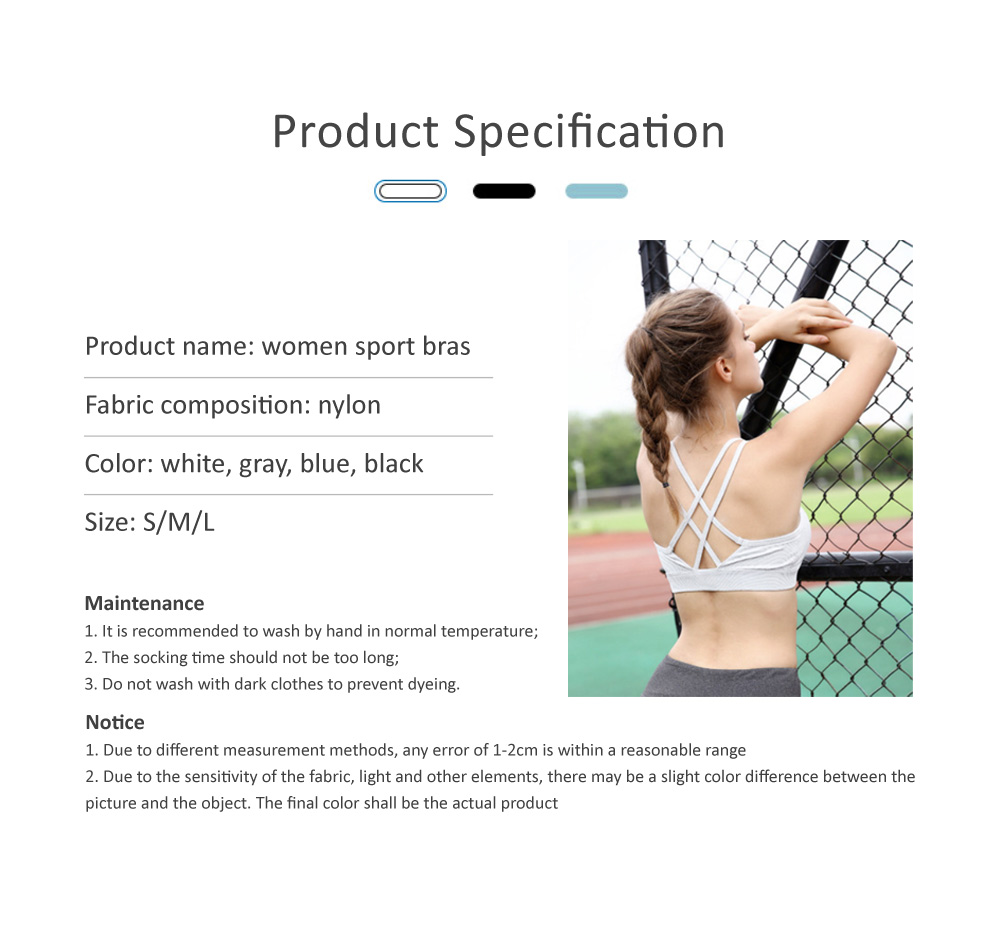 Comfortable Women Vest Sports Bra, Full Figure Sports Underwear, Women's Build-up Racerback Sport Bras with Removable Padded 5