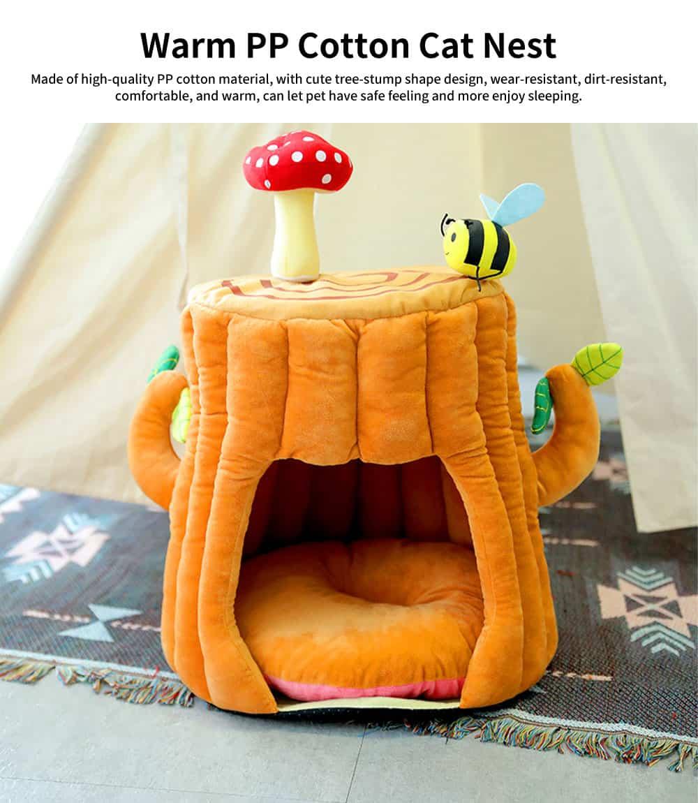 Warm PP Cotton Cat Nest, Tree-stump Shape Pet Nest, with Semi-enclosed Sleeping Bag Design 0