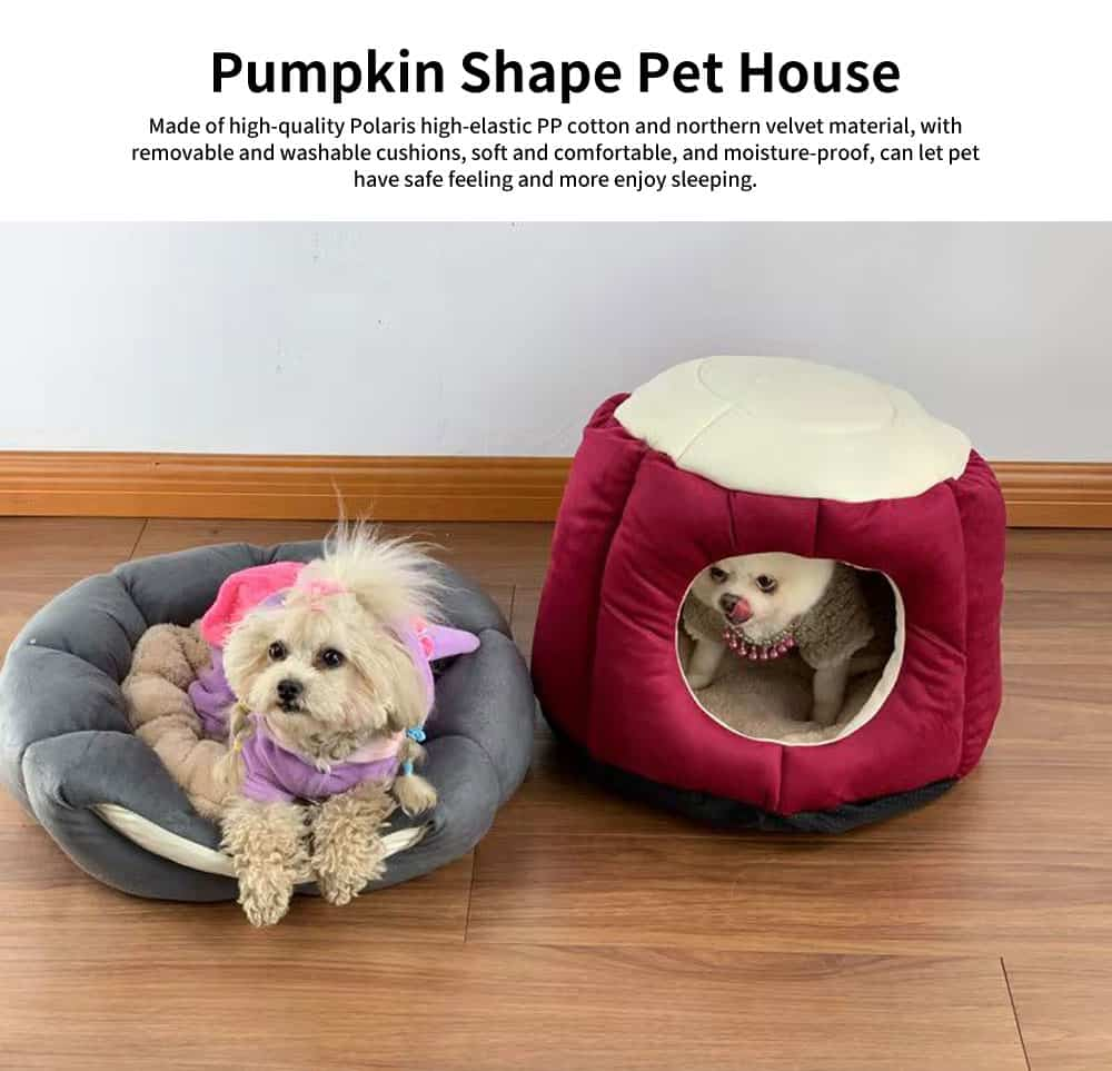 Northern Velvet Material Cat Nest, Beautiful Stool Shape Pet House, with Removable and Washable Cushion Cover 0