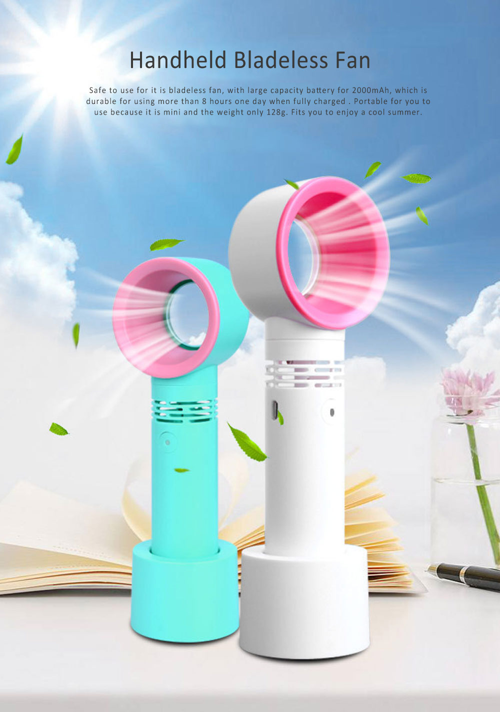 USB Bladeless Fan Portable Handheld Mini Noiseless Fan, Useful for Office, Dormitory, Children Chargeable Bladeless Fan 0