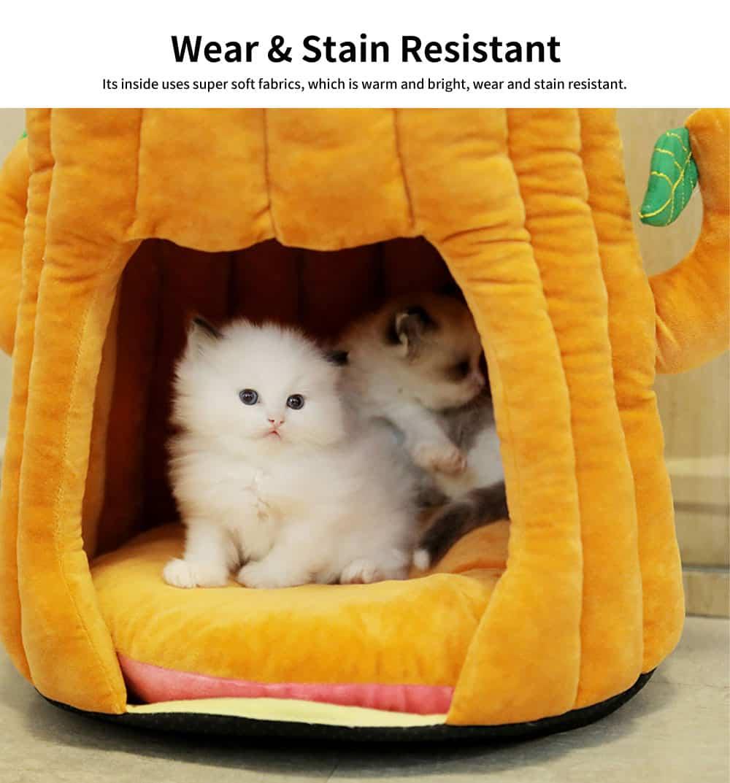 Warm PP Cotton Cat Nest, Tree-stump Shape Pet Nest, with Semi-enclosed Sleeping Bag Design 2