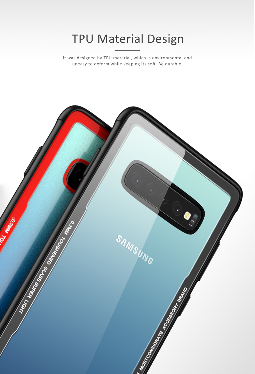 Samsung S10 Phone Case, New Transparent S10 Tempered Glass Case, Anti-fall & Anti-Scratch Samsung Contracted Phone Case for S10, S10 Plus, S10 Lite 3