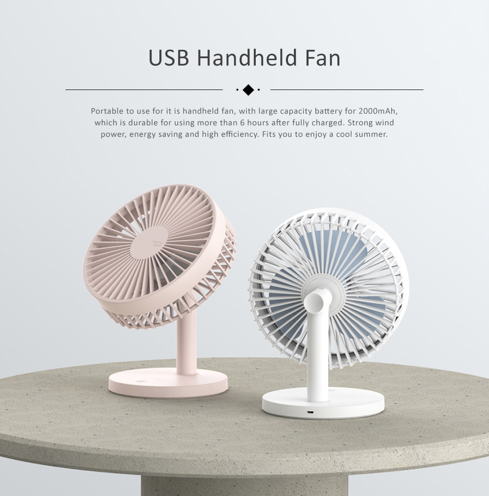 Children Rechargeable Desktop Fan, USB Portable Handheld Mini Noiseless Fan for Office, Dormitory 0