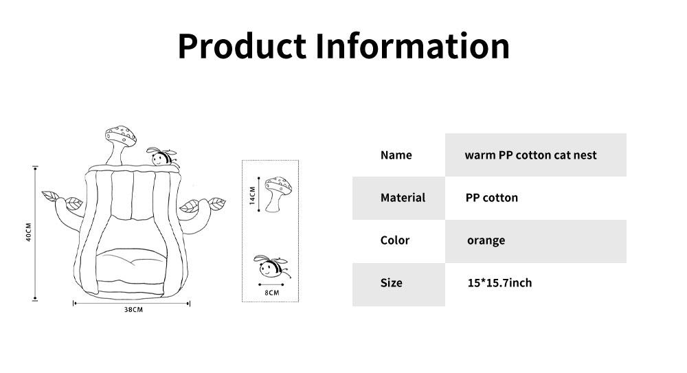 Warm PP Cotton Cat Nest, Tree-stump Shape Pet Nest, with Semi-enclosed Sleeping Bag Design 6