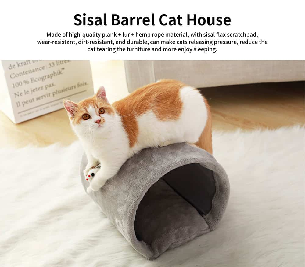 Grinding Claw Climbing Frame Small Cat Nest, with Funny Sisal Flax Scratchpad, Sisal Barrel Cat House 0