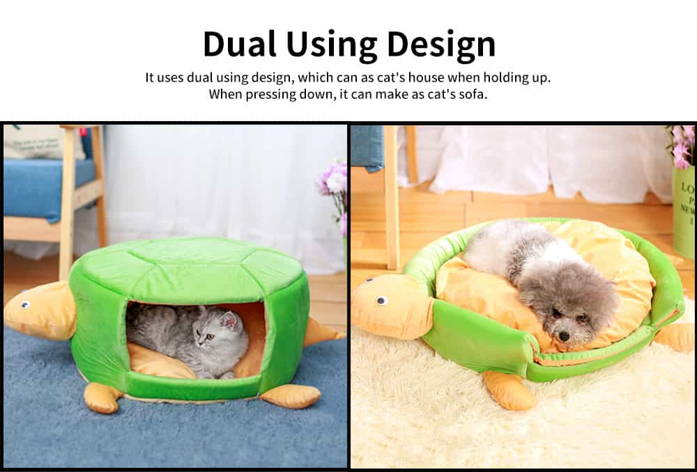 Short Plush PP Cotton Cat Nest, with Removable and Washable Cushion, Dual Using Cat House 2
