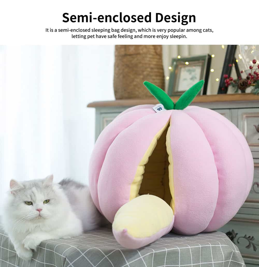 Pumpkin Appearance Cat Nest, High-quality Cotton Fabric Pet House, with Exquisite Package Edge 1