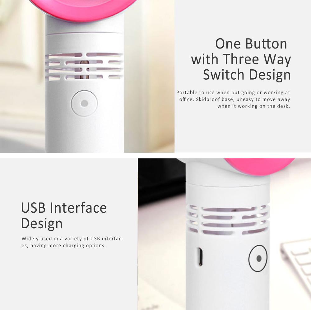 USB Bladeless Fan Portable Handheld Mini Noiseless Fan, Useful for Office, Dormitory, Children Chargeable Bladeless Fan 3