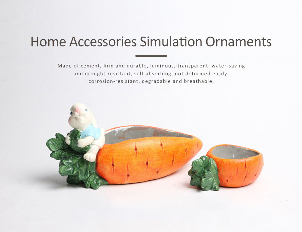 Emulation Carrot Bunny Cement Handicraft, Simulation Ornaments for Garden Courtyard, Living Room, Balcony, Office 0